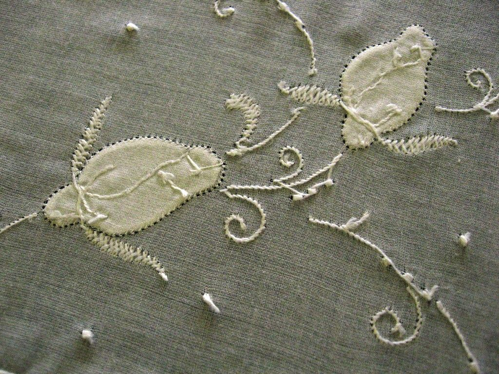 Appliqued Lovebirds White Linen Wedding Handkerchief