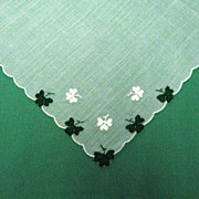 Embroidered Shamrocks Scalloped Handkerchief