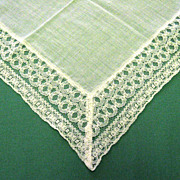 White Lace Edged Wedding Handkerchief