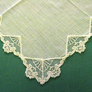 White with Lace Inserts Edges Wedding Handkerchief