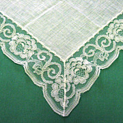 White Rose Design Lace Edged Wedding Handkerchief
