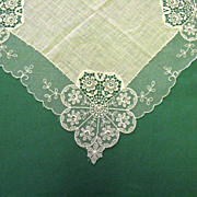 White Wedding Handkerchief Floral Design Lace Net Trim