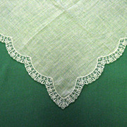 Scalloped Lace Edge Wedding Handkerchief