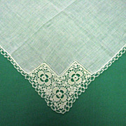 White Wedding Handkerchief with Crocheted Trim