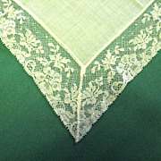 White Wedding Handkerchief Floral Design Lace Trim