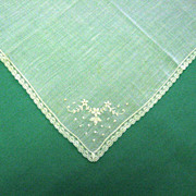 Embroidered White Wedding Handkerchief