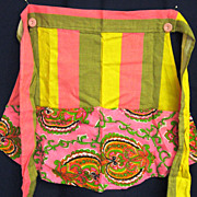 Handmade Half Apron Striped and Paisley Print