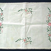 Embroidered Floral Design Doily or Place Mat