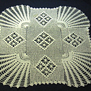 Handmade White Filet Crocheted Doily Table Topper