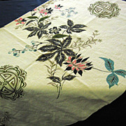 1950's Floral Bark Cloth Fabric Remnant