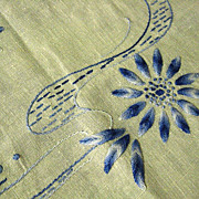 Crewel Embroidered  Blue on White Linen Table Runner Dresser Scarf