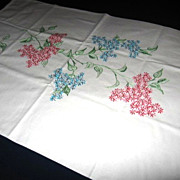 Hand Embroidered Floral Design White Pillowcase