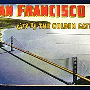 San Francisco City By The Golden Gate Folding Picture Postcard