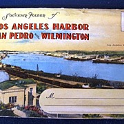 Souvenir Folder of Los Angeles Harbor San Pedro and Wilmington Folding Picture Postcard