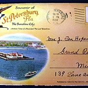 Folding Picture Postcard Souvenir of St. Petersburg Florida