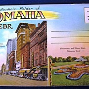 Souvenir Folder of Omaha Nebr. Folding Picture Postcard