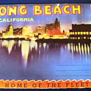 Long Beach California Home of the Fleet Folding Picture Postcard