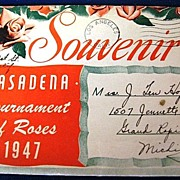 Souvenir Pasadena Tournament of Roses 1947 Picture Postcard