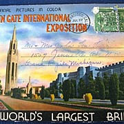 Folding Picture Postcard Golden Gate International Exposition and World's Largest Bridges