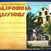 Souvenir Folder of California Missions Folding Picture Postcard