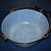 Vintage Graniteware Berry Pail with Bail Handle