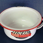 Vintage Federal Vogue White and Red Enamelware Chamber Pot