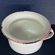 Vintage White and Pink Enamelware Child's Potty