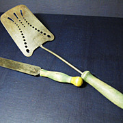 Two Vintage Green Handled Kitchen Utensils