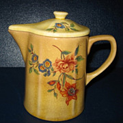 Floral Design Pottery Syrup Pitcher with Lid