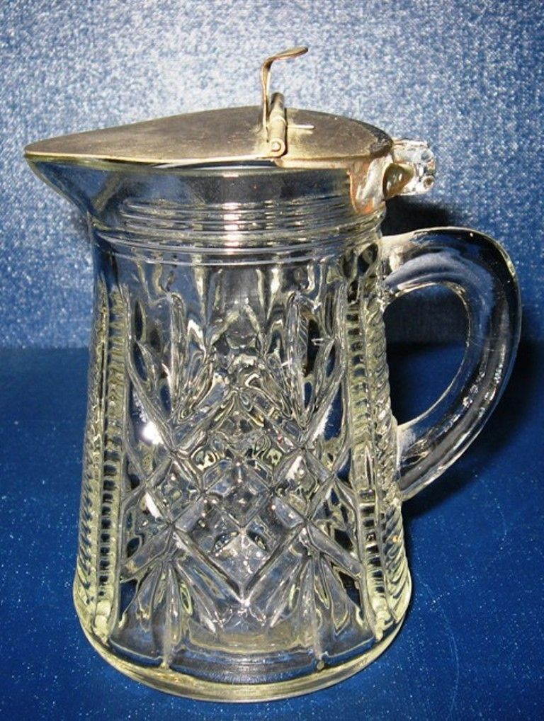 Pressed Pattern Glass Syrup Dispenser Flip Top Metal Lid