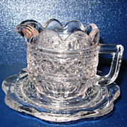 Pressed Pattern Glass Miniature Pitcher with Under Plate