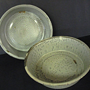 Two Rustic Primitive Graniteware Pudding Pans
