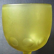 Amber Satin Glass Thumbprint Goblet