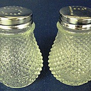 Diamond Point Clear Glass Salt and Pepper Shakers