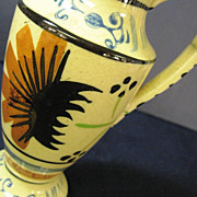 Japanese Pottery Floral Design Pitcher