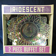 New Old Stock Federal Glass Iridescent Two Piece Buffet Set