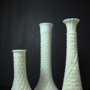 Instant Collection of Three Milk White Glass Bud Vases