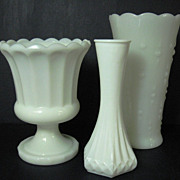 Instant Collection of White Milk Glass Vases