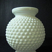 White Hobnail Milk Glass Rose Bowl Vase