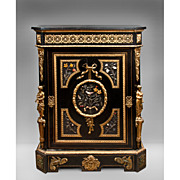 Napoleon III Bronze Mounted Ebonized Cabinet, Relief Hard stone Ornament
