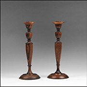 Pair Of Late 19th C. Georgian Style Rosewood Turned Candlesticks