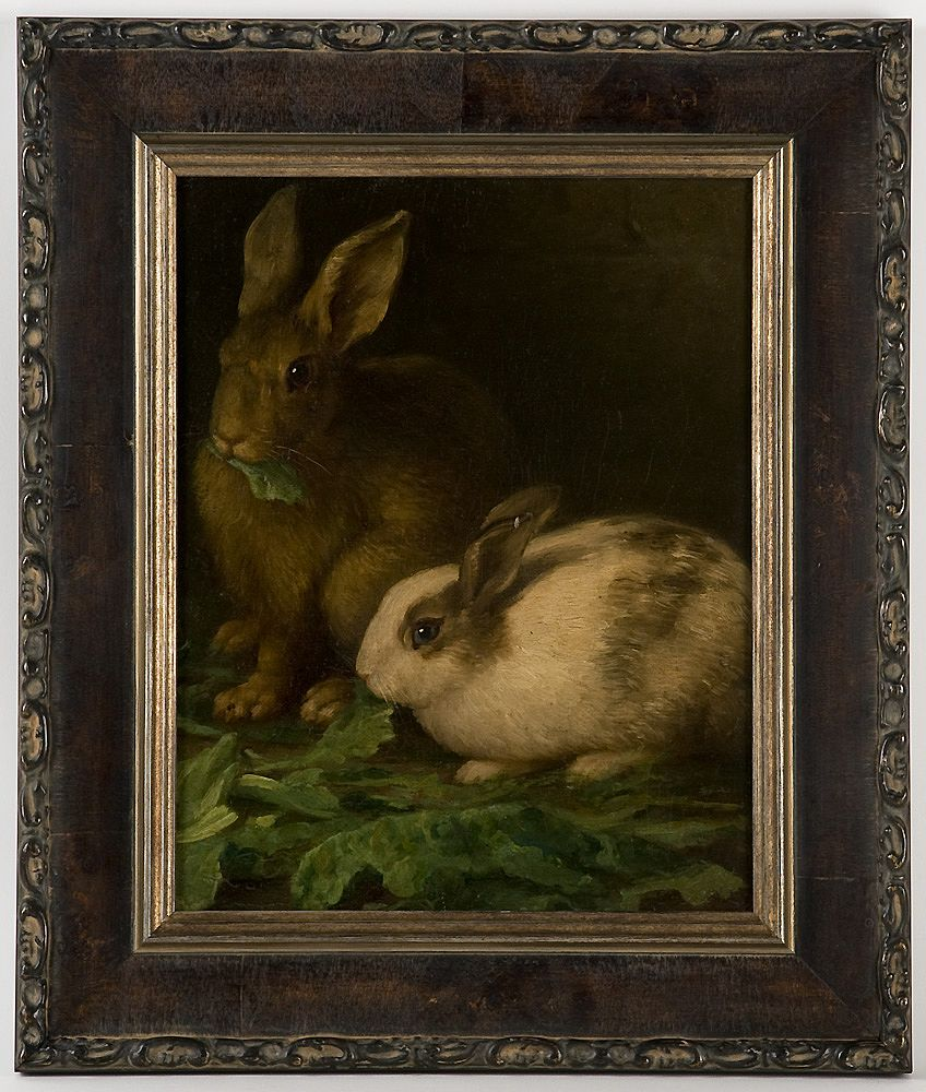 19th C. Oil On Canvas of Rabbits
