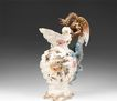 Art Pottery Bohemia Teplitz Shell Form Dragon Handle Jug