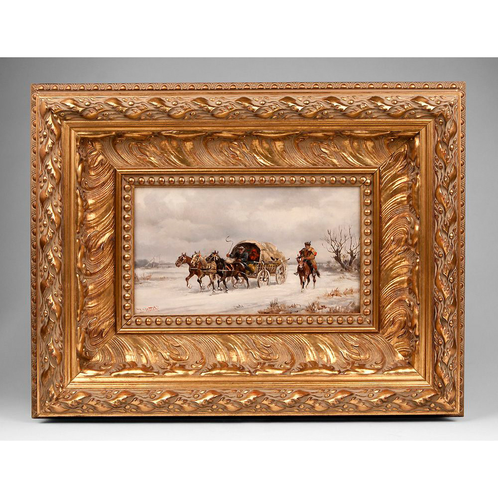 19th C. Oil On Canvas of Russian Winter Landscape With Kibitka