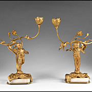 Pair of French Second Empire Bronze And Onyx Putti Candelabras