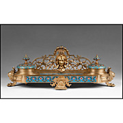 Late 19th C. French Empire Style Champleve Enamel and Bronze Inkwell