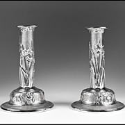 Michael Galmer Sterling Silver Wild Iris Candlesticks