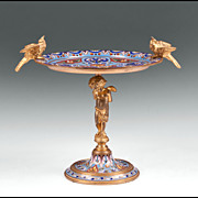 Napoleon III French Champlev� Enamel And Gilt Bronze Tazza