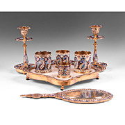 Late 19th C. French Champlev� Enamel Assembled 8-Piece Vanity Set