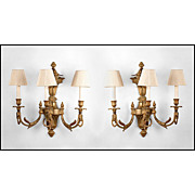 Pr. Of French Louis XVI Bronze Three Arm Sconces